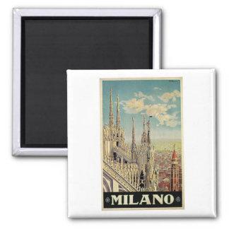 Voyage vintage de Milan Milan Italie Magnet Carré
