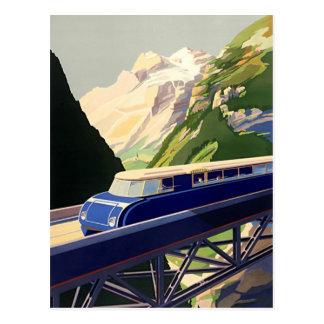 Voyage vintage de rail de l'Europe Carte Postale