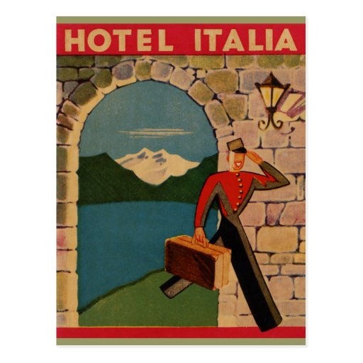 Voyage vintage - hôtel Italie Carte Postale