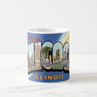 Voyage vintage, salutations de Chicago l'Illinois Mug Blanc