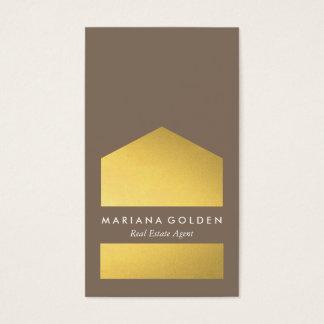 Vrai carte de visite d'agent immobilier d'or
