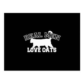 Vraie silhouette de chats d'amour d'hommes cartes postales