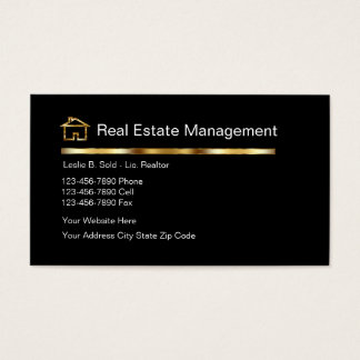 Vrais cartes de visite chics d'agent immobilier