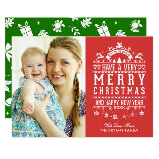 Vreugde aan de Foto van Kerstmis van de Typografie 12,7x17,8 Uitnodiging Kaart