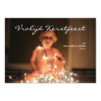 Vrolijk Kerstfeest Kerstmis Foto Blauw Wit Strepen 12,7x17,8 Uitnodiging Kaart