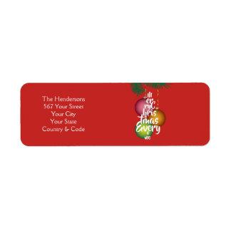 Vrolijke Kerstmis iedereen de Boom & de Naam van Etiket