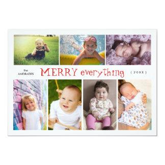Vrolijke Kerstmis van de Collage van de Foto van 12,7x17,8 Uitnodiging Kaart
