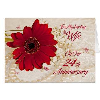 Vrouw op 24ste huwelijksverjaardag, een madeliefje wenskaart