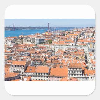 Vue aérienne de Lisbonne, Portugal Sticker Carré