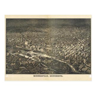 Vue aérienne de Minneapolis, Minnesota (1885) Carte Postale