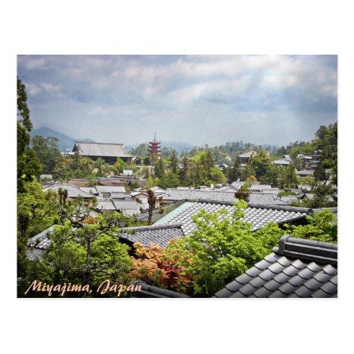 Vue au-dessus de village de Miyajima Carte Postale