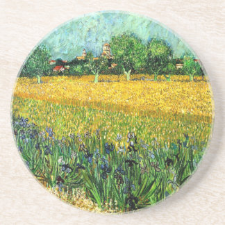 Vue d'Arles avec des iris dans le premier plan Dessous De Verre En Grès