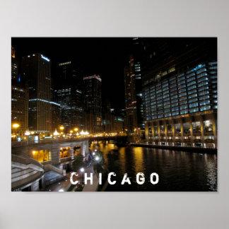 Vue de nuit de Chicago l'Illinois