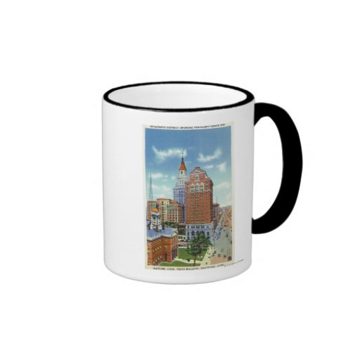 Vue de tour de bâtiment et de voyageurs de confian tasses