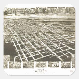 Vue d'oeil d'oiseau de Wilson, la Caroline du Nord Sticker Carré