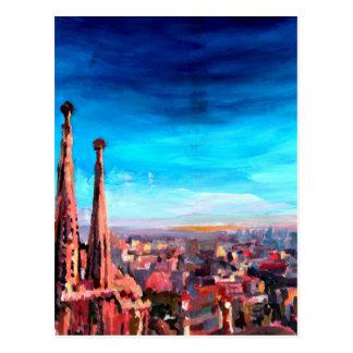 Vue et Sagrada Familia de ville de Barcelone Carte Postale