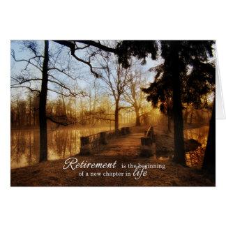Vue pittoresque de lac congratulations de retraite carte de vœux