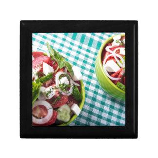 Vue supérieure de fin végétarienne utile de repas boîte à souvenirs