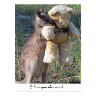 Wallaby étreignant l'amour de carte postale de