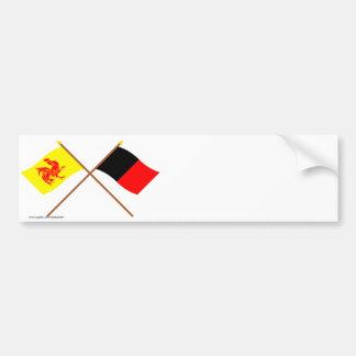 Wallon et drapeaux croisés de Namur Autocollant De Voiture