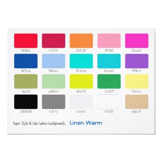 Warme het Linnen van de Steekproef van de kleur 12,7x17,8 Uitnodiging Kaart