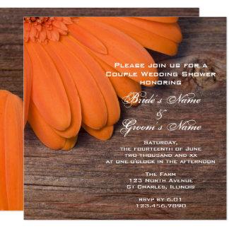 Wedding shower de couples de marguerite orange et carton d'invitation  13,33 cm