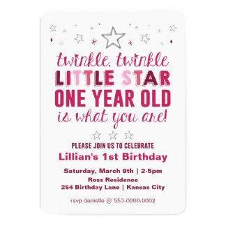 Weinig Eerste Verjaardag van de Meisjes van de 12,7x17,8 Uitnodiging Kaart