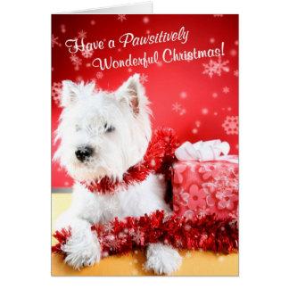 Wensen van Kerstmis van Westie passen de Prachtige Kaart