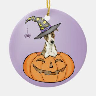 Whippet de Halloween Ornement Rond En Céramique