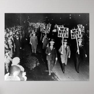 Wij willen Bier! Het Protest van het verbod, de Poster