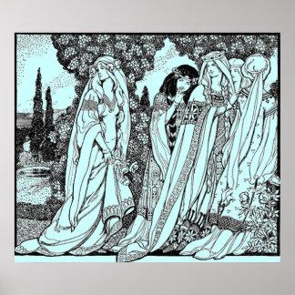Wijnoogst - de Mode van Vrouwen - Middeleeuwen Poster
