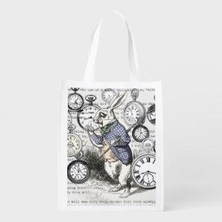 Wit Konijn Alice in de Tijd van het Sprookjesland Herbruikbare Boodschappentas