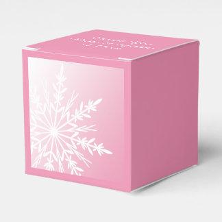 Witte Sneeuwvlok op het Roze Huwelijk van de Bedankdoosjes