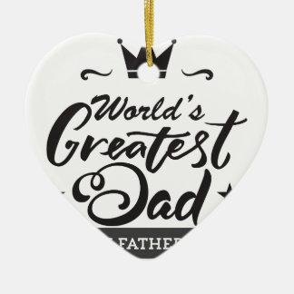 World's_Greatest_Dad Ornement Cœur En Céramique
