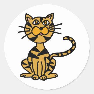 XX bande dessinée rayée de chat Sticker Rond