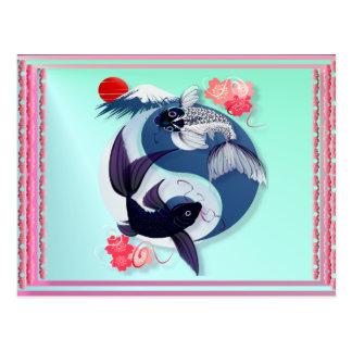 Yin et cartes postales de Yang Koi