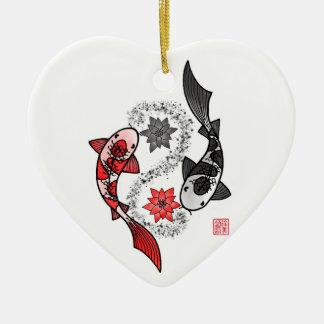 Yin et ornement en céramique de poissons de Yang
