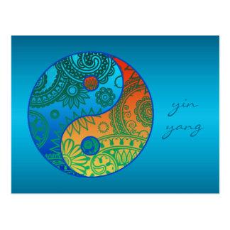 Yin modelé Yang orange et bleu Carte Postale