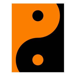 Yin Yang - noir orange Carte Postale
