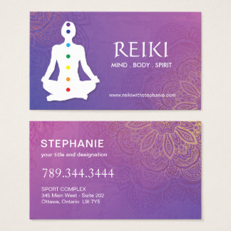 Yoga et cartes de visite de Reiki