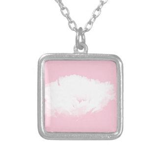 Zachte Roze Witte Pioen - Bloemen Ketting Vierkant Hangertje