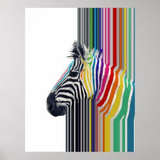 zèbre vibrant coloré à la mode impressionnant de