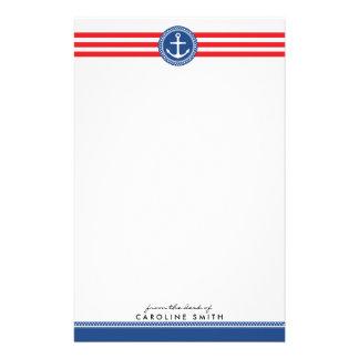Zeevaart gepersonaliseerd anker en rode strepen briefpapier