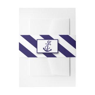 Zeevaart Strepen & het Marineblauwe Huwelijk van Uitnodigingen Wikkel