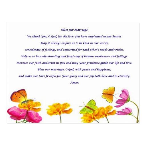 Zegen ons gebed van het huwelijk wens kaart zazzle