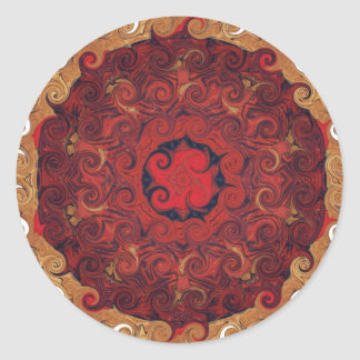 ZEN bouddhiste de rouge de MANDELA Sticker Rond