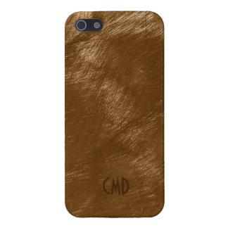 Ziet het Bruine MetaalOntwerp Geborstelde Staal iPhone 5 Cover