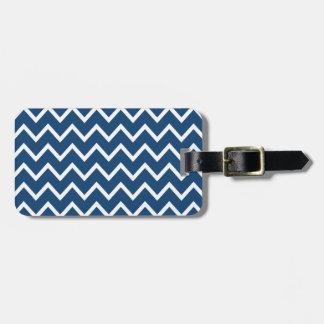 Zigzag bleu Chevron du Monaco Étiquette Pour Bagages
