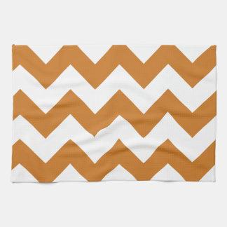 Zigzag I - Wit en Oker Handdoeken