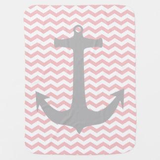 Zigzag rose et couverture nautique grise de bébé couverture de bébé
